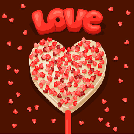confession: Greeting card with  sweet candy. Concept can be used for Valentines Day, wedding or love confession message.