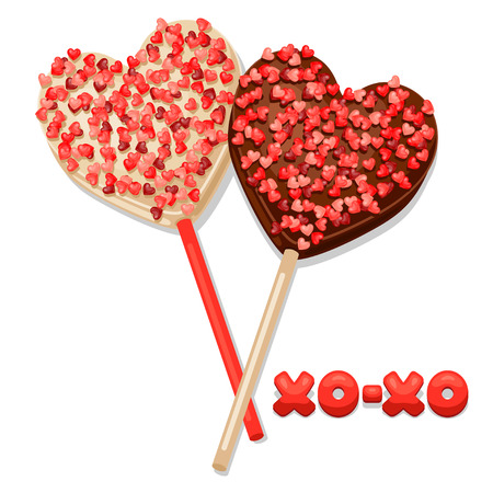 confession: Greeting card with  sweet candies. Concept can be used for Valentines Day, wedding or love confession message.