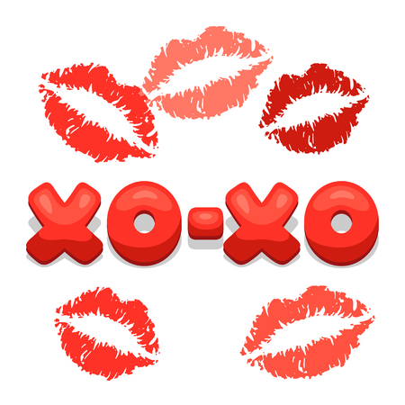 xoxo: Greeting card with xo-xo and lips. Concept can be used for Valentines Day, wedding or love confession message.