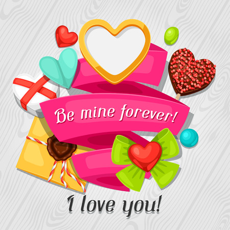 confession: Greeting card with hearts, objects, decorations. Concept can be used for Valentines Day, wedding or love confession message.