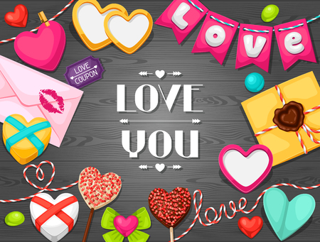 wedding love: Greeting card with hearts, objects, decorations. Concept can be used for Valentines Day, wedding or love confession message.