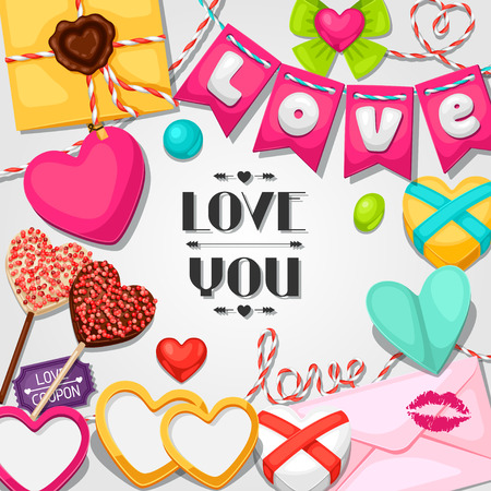 love photo: Greeting card with hearts, objects, decorations. Concept can be used for Valentines Day, wedding or love confession message.