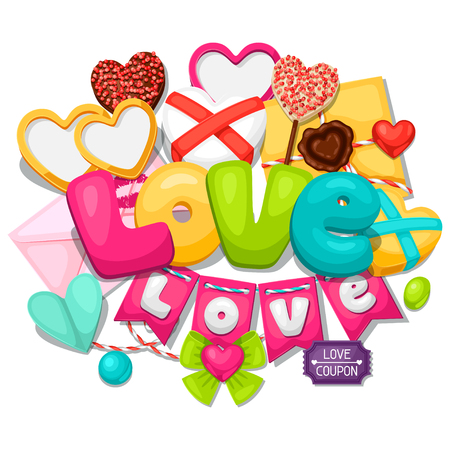candy border: Greeting card with hearts, objects, decorations. Concept can be used for Valentines Day, wedding or love confession message.