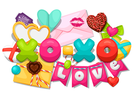 romantic background: Greeting card with hearts, objects, decorations. Concept can be used for Valentines Day, wedding or love confession message.