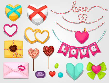 design objects: Set of hearts, objects, decorations. Can be used for design Valentines Day cards and wedding design Illustration