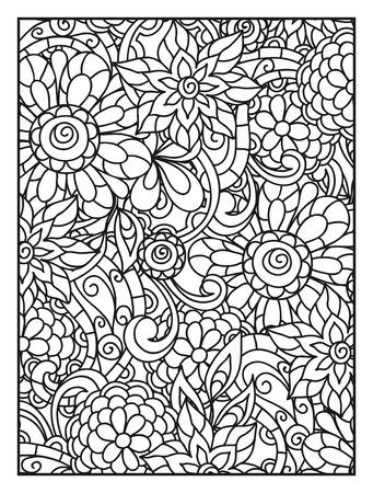 Achtergrond met lijn bloemen voor volwassen kleurplaat printen en tekenen. Vector Illustratie
