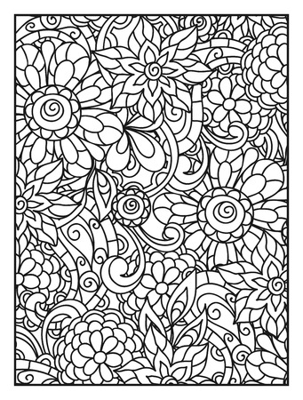 Background with line flowers for adult coloring page printing and drawing. Vektorové ilustrace