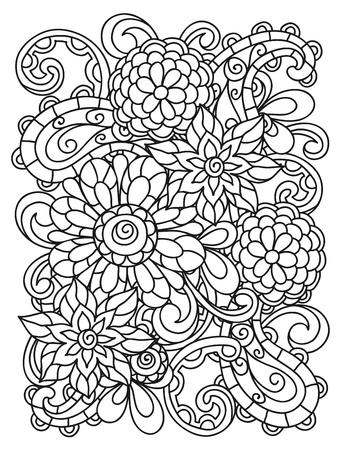 Achtergrond met lijn bloemen voor het printen en tekenen van volwassen kleurplaten. Vector Illustratie