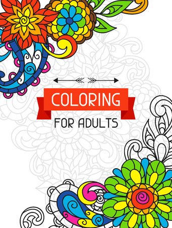 color illustration: Adult coloring book design for cover. Illustration of trend item to relieve stress and creativity.