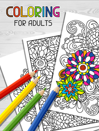 Adult coloring book design for cover. Illustration of trend item to relieve stress and creativity.