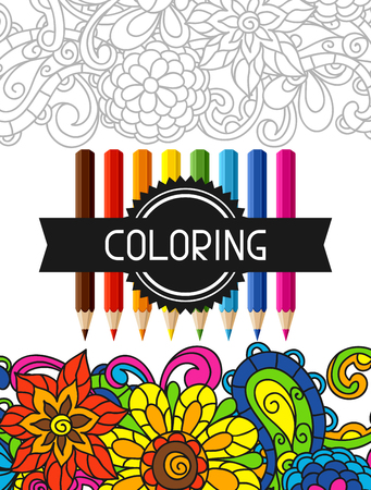 trend: Adult coloring book design for cover. Illustration of trend item to relieve stress and creativity.