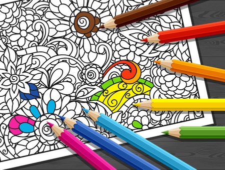 Adult coloring concept with pencils, printed pattern. Illustration of trend item to relieve stress and creativity. Illustration