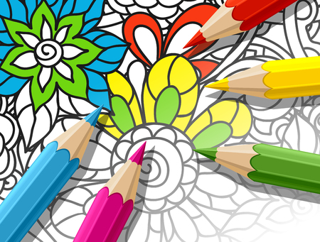 relieve: Adult coloring concept with pencils, printed pattern. Illustration of trend item to relieve stress and creativity. Illustration