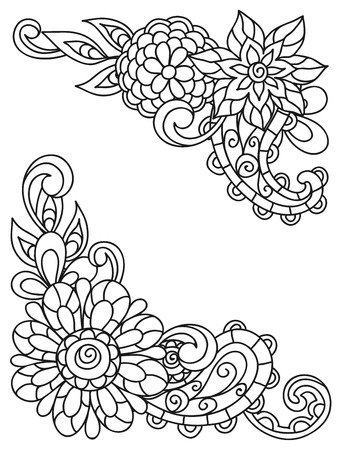 color pages: Corner vignettes with line flowers for adult coloring page printing and drawing.