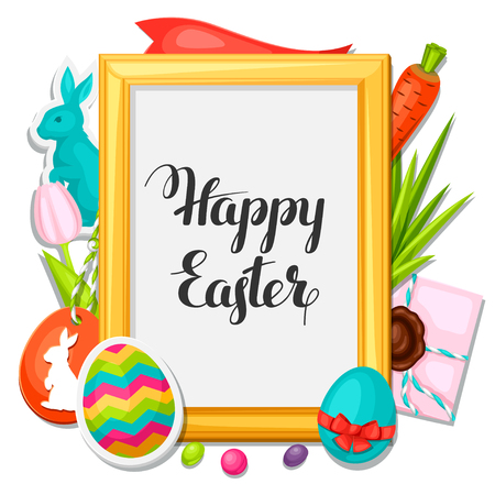 decorative objects: Happy Easter photo frame with decorative objects, eggs, bunnies stickers. Concept can be used for holiday invitations and posters.