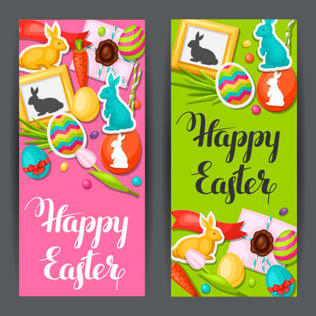 decorative objects: Happy Easter banners with decorative objects, eggs, bunnies stickers. Concept can be used for holiday invitations and posters.
