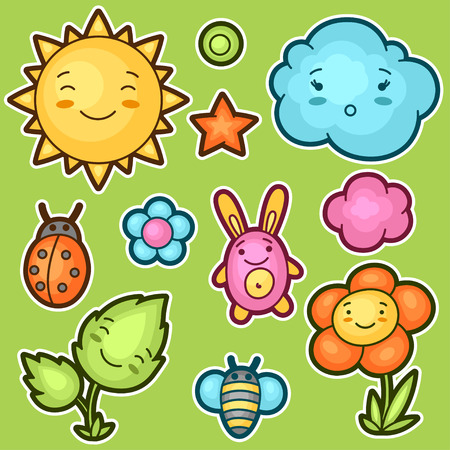 Set of kawaii doodles with different facial expressions. Spring collection of cheerful cartoon characters sun, cloud, flower, leaf, beetles and decorative objects. Vectores