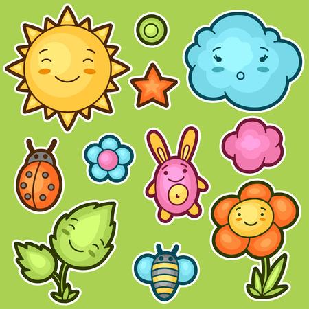 sol caricatura: Conjunto de garabatos kawaii con diferentes expresiones faciales. colección de primavera de sol alegre personajes de dibujos animados, nube, flor, hoja, escarabajos y objetos decorativos.