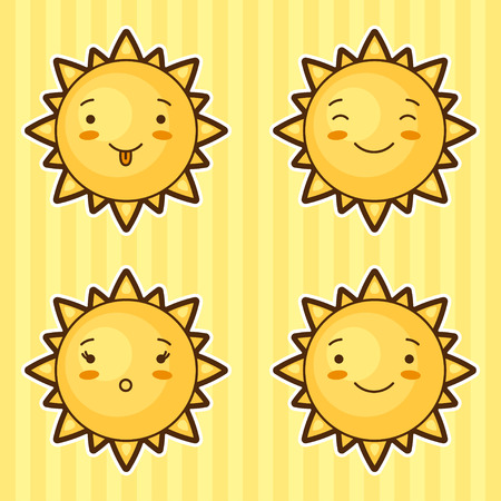 funny cartoon: Set of kawaii suns with different facial expressions. Illustration