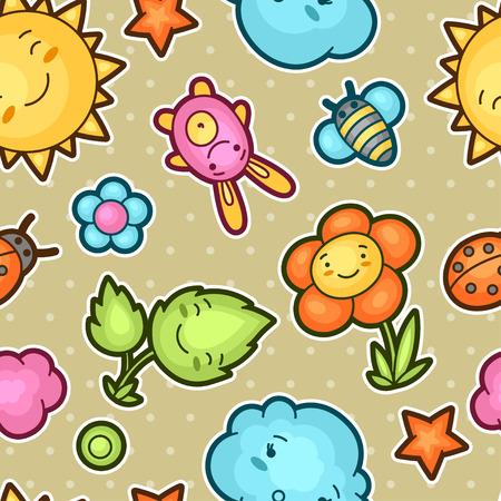 estrella caricatura: Patr�n sin fisuras con garabatos ni�o kawaii lindo. colecci�n de primavera de sol alegre personajes de dibujos animados, nube, flor, hoja, escarabajos y objetos decorativos. Vectores