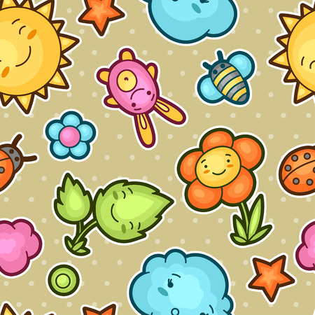 asian cartoon: Seamless kawaii child pattern with cute doodles. Spring collection of cheerful cartoon characters sun, cloud, flower, leaf, beetles and decorative objects.
