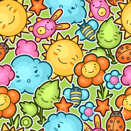 bugs bunny: Seamless kawaii child pattern with cute doodles. Spring collection of cheerful cartoon characters sun, cloud, flower, leaf, beetles and decorative objects.