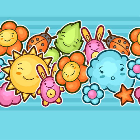 fun background: Seamless kawaii child pattern with cute doodles. Spring collection of cheerful cartoon characters sun, cloud, flower, leaf, beetles and decorative objects.