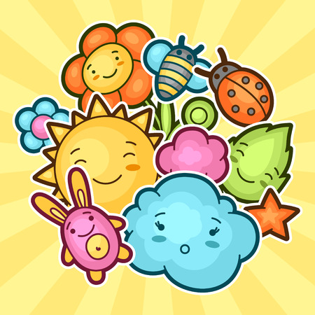 bee party: Cute child background with kawaii doodles. Spring collection of cheerful cartoon characters sun, cloud, flower, leaf, beetles and decorative objects.
