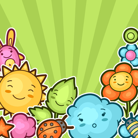 Cute child background with kawaii doodles. Spring collection of cheerful cartoon characters sun, cloud, flower, leaf, beetles and decorative objects.