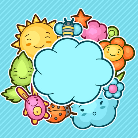 speech cloud: Cute child background with kawaii doodles. Spring collection of cheerful cartoon characters sun, cloud, flower, leaf, beetles and decorative objects.