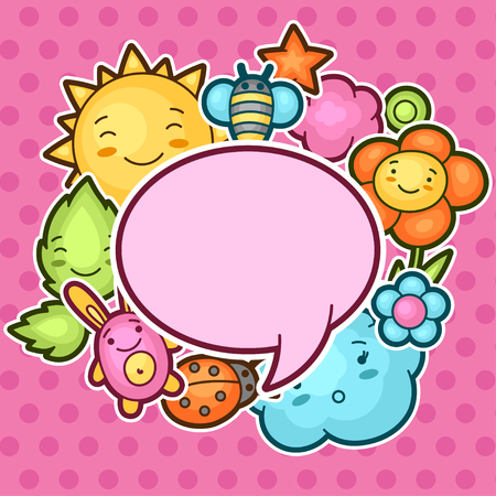 decorative objects: Cute child background with kawaii doodles. Spring collection of cheerful cartoon characters sun, cloud, flower, leaf, beetles and decorative objects.