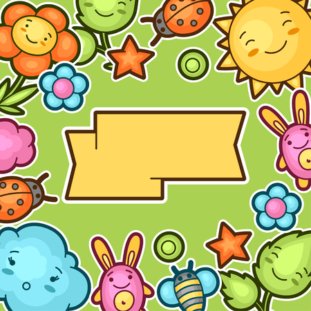 bugs bunny: Cute child background with kawaii doodles. Spring collection of cheerful cartoon characters sun, cloud, flower, leaf, beetles and decorative objects.