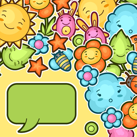 spring: Cute child background with kawaii doodles. Spring collection of cheerful cartoon characters sun, cloud, flower, leaf, beetles and decorative objects.