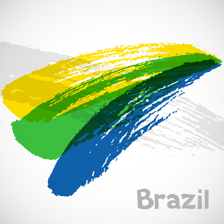 Brazil abstract background with grunge paint strokes in color of flag. Design for covers Ilustração