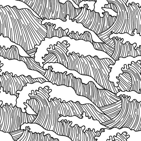 Sea naadloze patroon met abstracte hand getekende golven. Achtergrond voor textieldruk en inpakpapier.