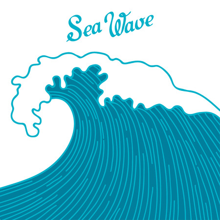 twiddle: Sea background with abstract hand drawn waves. Template for invitation and greeting cards.