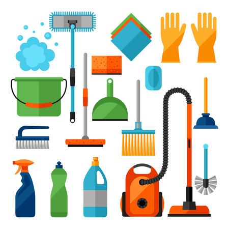 icônes de nettoyage de ménage réglés. L'image peut être utilisé sur des bannières, des sites Web, des dessins.