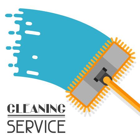 servicio domestico: La limpieza de fondo con la fregona. La imagen se puede utilizar en folletos publicitarios, banners, desolladores, el artículo, los medios sociales. Vectores