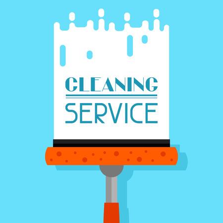 orden y limpieza: La limpieza de fondo con un limpiador de ventanas. La imagen se puede utilizar en folletos publicitarios, banners, desolladores, el artículo, los medios sociales.