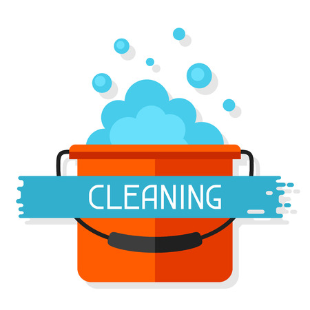 soap suds: Housekeeping background with bucket and suds. Image can be used on advertising booklets, banners, flayers, article, social media. Illustration