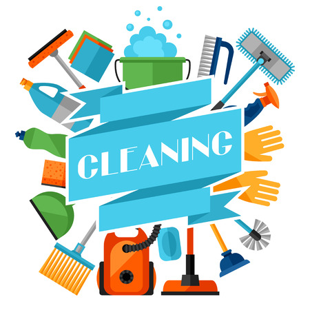 Housekeeping background with cleaning icons. Image can be used on advertising booklets, banners, flayers, article, social media. Иллюстрация