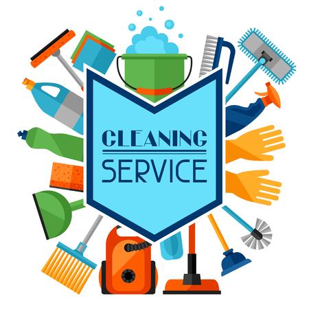 Le ménage de fond avec des icônes de nettoyage. L'image peut être utilisé sur les brochures publicitaires, des bannières, des écorcheurs, l'article, les médias sociaux.