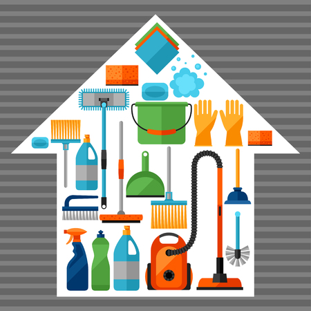 suds: Housekeeping background with cleaning icons. Image can be used on advertising booklets, banners, flayers, article, social media. Illustration