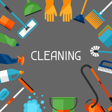 Housekeeping Hintergrund mit Reinigungs Symbole. Bild ist auf Werbebroschüren, Bannern, Flyern verwendet werden, Artikel, Social Media.