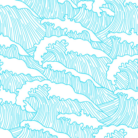 twiddle: Sea seamless pattern with abstract  hand drawn waves. Background for textile printing and wrapping paper. Illustration
