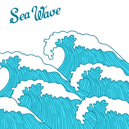 cover art: Sea background with abstract hand drawn waves. Template for invitation and greeting cards.