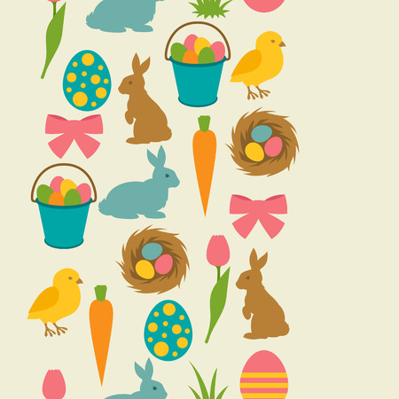 decorative objects: Happy Easter seamless pattern with decorative objects. Background can be used for holiday prints, textiles and greeting cards.