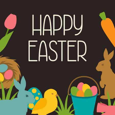 decorative objects: Happy Easter greeting card with decorative objects. Concept can be used for holiday invitations and posters. Illustration
