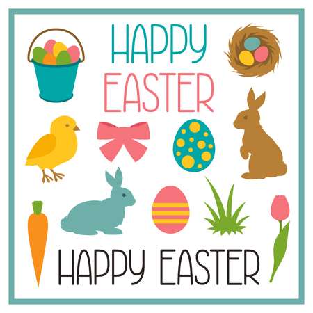 design objects: Happy Easter set of decorative objects. Can be used for holiday design, backgrounds and greeting cards.