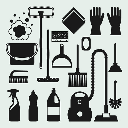 Housekeeping cleaning icons set. Image can be used on banners, web sites, designs.